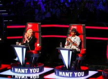 Gwen Stefani and Pharrell Williams during The Voice Blind Auditions