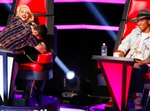 Adam Levine, Gwen Stefani and Pharrell during night four of the Blinds