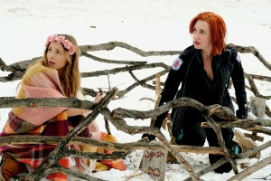 """WYNONNA EARP -- """"Gone as a Girl Can Get"""" Episode 211-- Pictured: (l-r) Dominique Provost-Chalkley as Waverly Earp, Katherine Barrell as Officer Nicole Haught -- (Photo by: Michelle Faye/Syfy/Wynonna Earp Season 2)"""