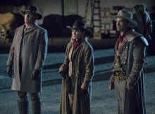 """DC's Legends of Tomorrow -- """"The Good, the Bad & the Cuddly"""" -- Image Number: LGN318b_0268.jpg -- Pictured (L-R): Dominic Purcell as Mick Rory/Heat Wave, Caity Lotz as Sara Lance/White Canary and Johnathon Schaech as Jonah Hex -- Photo: Jack Rowand/The CW -- © 2018 The CW Network, LLC. All Rights Reserved."""