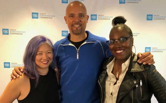 Younglai at the Toronto Screenwriters Conference with Ben Watkins and Jessica Meya.
