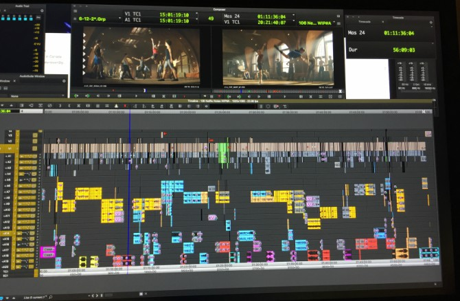 Lisa's AVID editing timeline for Tiny Pretty Things.