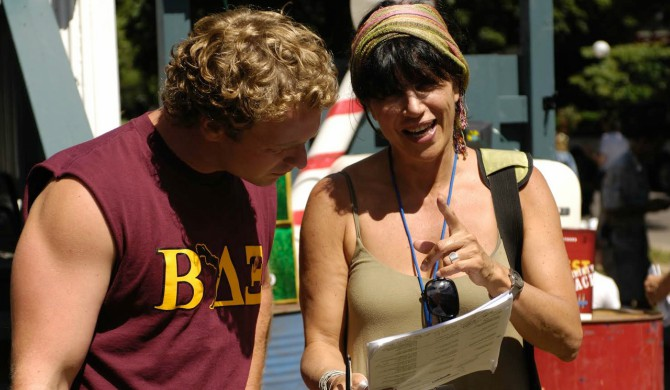 With Daniel Petronijevic on the set of American Pie: Beta House. Photo courtesy of Cynthia Amsden.