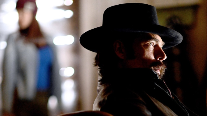 """WYNONNA EARP -- """"Look At Them beans"""" Episode 403 -- Pictured: Tim Rozon as Doc Holliday -- (Photo by: Michelle Faye/Wynonna Earp Productions, Inc./SYFY)"""